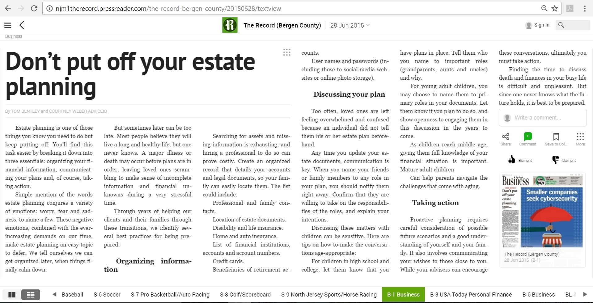 Don't put off your estate planning article by The Bergen Record